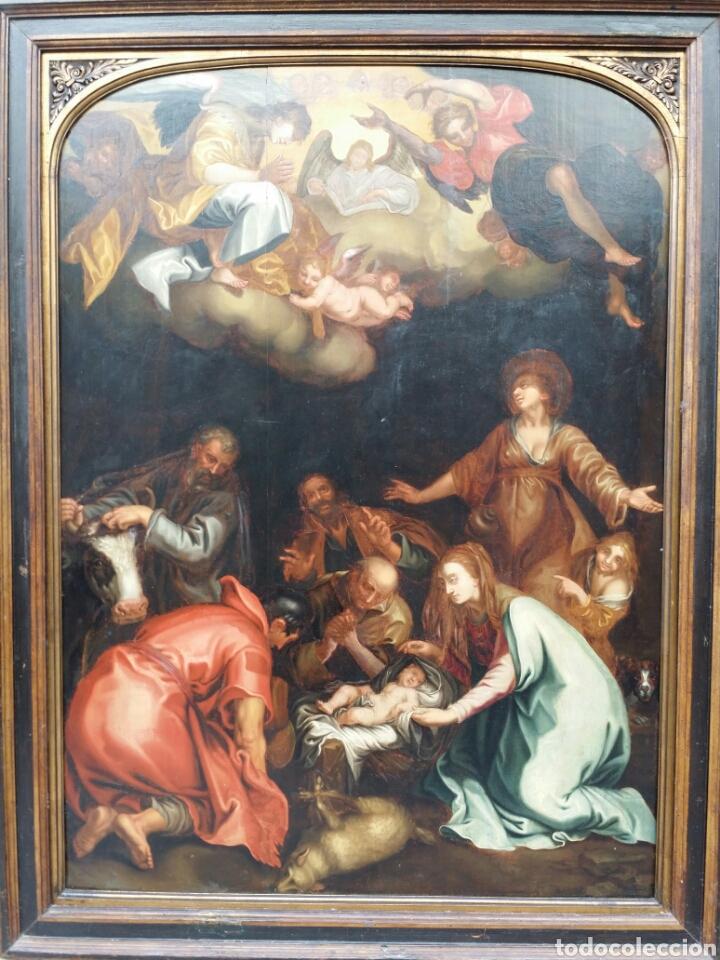 ADORACIÓN DE LOS PASTORES SIGLO XVII ESTILO MANIERISMO RENACENTISTA CAMINO DEL BARROCO ÓLEO (Arte - Arte Religioso - Pintura Religiosa - Oleo)