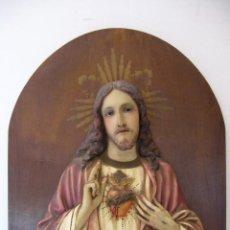 Arte: CUADRO IMAGEN RELIEVE SAGRADO CORAZÓN DE JESÚS. Lote 87205416