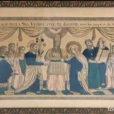 Arte: BODA DE LA VIRGEN MARÍA Y SAN JOSÉ. GRABADO ENRIQUECIDO. FRANÇOIS GEORGIN. FRANCIA. SIGLO XIX. . Lote 87221196