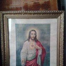 Arte: ANTIGUO CUADRO SAGRADO CORAZÓN DE JESÚS. 68 X 58 CM.. Lote 87379608