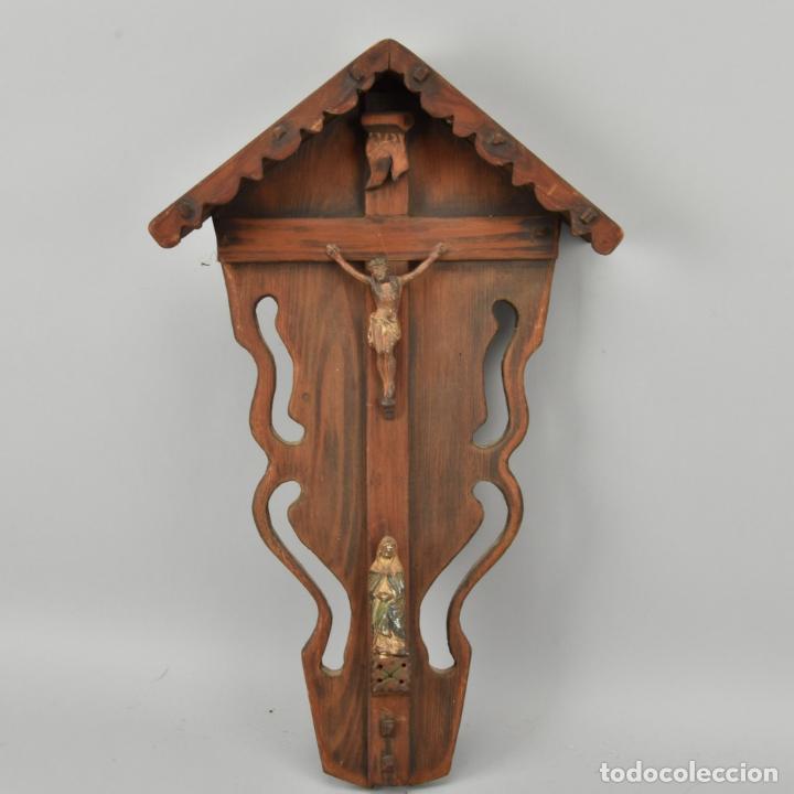 Arte: antigua capilla madera tallada art deco año1928 medidas 51x31x7 cm figuras porcelana 152,00 € - Foto 7 - 87403332