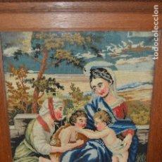 Arte: MAGNÍFICO, ANTIGUO GRAN BORDADO GOBELIN ¨LA VIRGEN, SANTA ANA, EL NIÑO JESÚS Y SAN JUANITO¨, S. XIX.. Lote 87480232