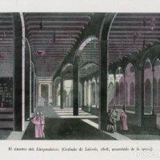 Arte: MONTSERRAT - EL CLAUSTRO DELS LLARGANDAIXOS (GRABADO DE LABORDE, 1808, ACUARELADO DE LA ÉPOCA). Lote 87669104