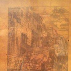Arte: ANTIGUO CUADRO CON LAMINA ENMARCADA DE LA SAGRADA FAMILIA EN EL PATIO 1501-1502 . Lote 87678668