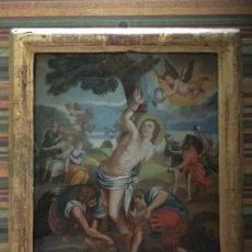 Arte: VIDRIO SOPLADO PINTADO. ÓLEO. BARROCO SEVILLANO. SIGLO XVIII. MUSEO. FOTOS. MARCO ORIGINAL. Lote 87838544