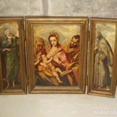 Arte: ANTIGUO TRIPTICO RELIGIOSO,VIRGEN NIÑO JESUS,CUADRO.. Lote 87856244