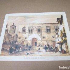 Arte: ESPAÑA ARTISTICA Y ROMANTICA, PLAZA DE LOS MOMOS EN ZARAGOZA, LITOGRAFIADO POR FICHOT Y BAYOT. Lote 88824368