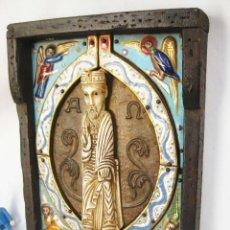 Arte: ALUCINANTE! ICONO BIZANTINO RETABLO EN MARFIL O HUESO MADERA Y METAL ESMALTE AL ORO. Lote 88834348