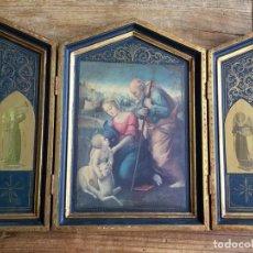 Arte: RETABLO TRÍPTICO RELIGIOSO PUERTAS TALLADAS. Lote 85933072