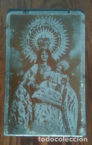 ANTIGUA PLANCHA METALICA SOBRE MADERA PARA IMPRIMIR IMAGEN DE Nª Sª DEL REMEDIO PATRONA DE ALICANTE (Arte - Arte Religioso - Grabados)