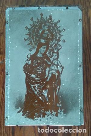 ANTIGUA PLANCHA METALICA SOBRE MADERA PARA IMPRIMIR LA IMAGEN DE LA VIRGEN DE LA CINTA DE HUELVA (Arte - Arte Religioso - Grabados)