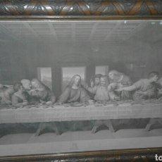 Arte: BONITA SANTA CENA LITOGRAFÍA PEGADA A LIENZO MARCO DE NOGAL. Lote 89057530