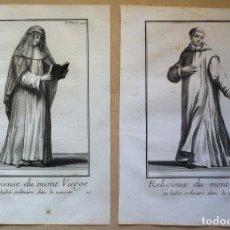 Arte: HÁBITOS DE CONVENTO. (2 GRABADOS ORIGINALES 1714-18). Lote 89131824