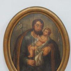 Arte: ANTIGUO OLEO S/ TABLA. SAN JOSE. SIGLO XVIII. Lote 89835396