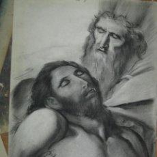 Arte: ANTIGUO DIBUJO ORIGINAL CARONCILLO RELIGIOSO CRISTO RECOGIDO POR PEDRO. Lote 90189516