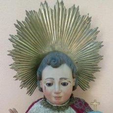 Arte: TALLA NIÑO JESÚS MADERA S. XVII ESC BARROCA ANDALUZA.OJOS DE CRISTAL. 85 CMS DE ALTO.. Lote 90200992