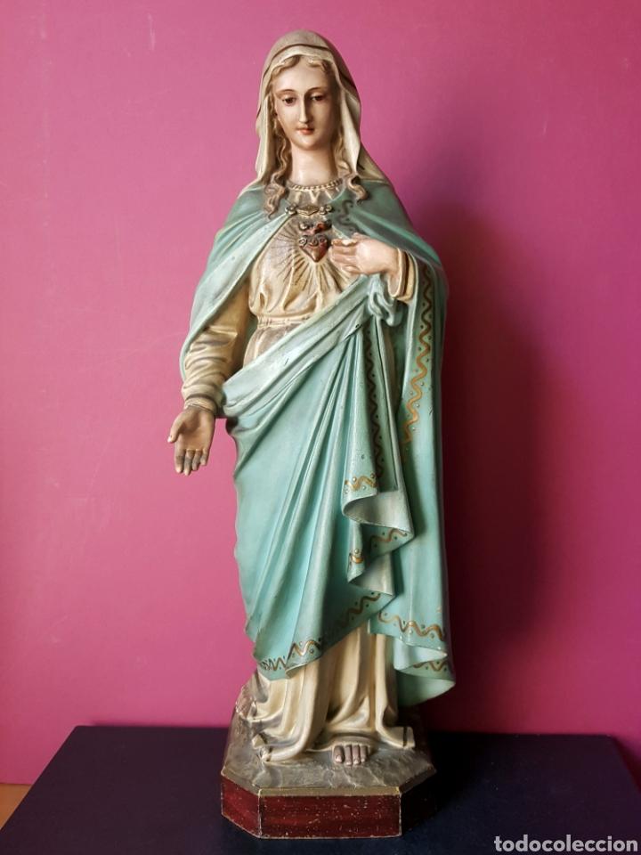 FANTÁSTICA VIRGEN INMACULADA DE ESTUCO POLICROMADO CON ORO FINO. OLOT. (Arte - Arte Religioso - Escultura)