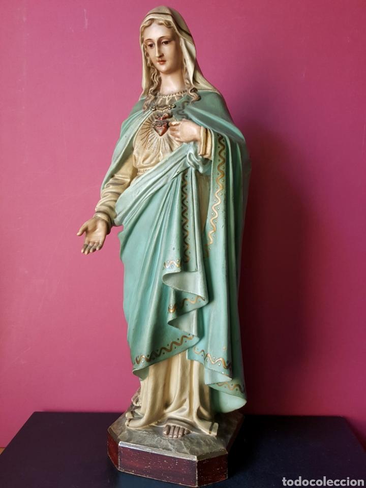 Arte: Fantástica Virgen Inmaculada de estuco policromado con oro fino. Olot. - Foto 2 - 90229246