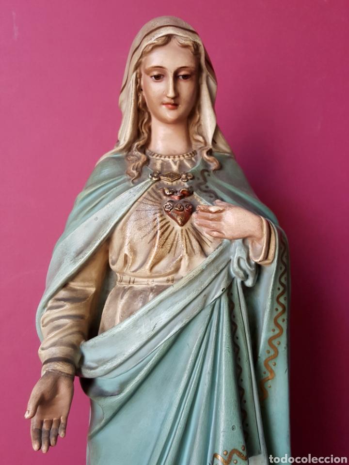 Arte: Fantástica Virgen Inmaculada de estuco policromado con oro fino. Olot. - Foto 6 - 90229246