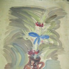 Arte: ANTIGUA ACUARELA GRANDES DIMENSIONES FIRMADA. Lote 90230880