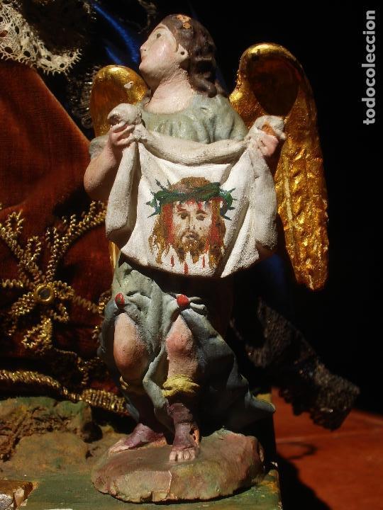 1848 HISTORICA HORNACINA DE LA VIRGEN DE LOS CUATRO OBISPOS TALLA DE MADERA (Arte - Arte Religioso - Escultura)
