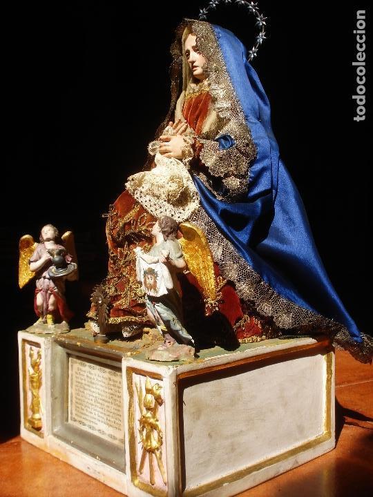 Arte: 1848 HISTORICA HORNACINA DE LA VIRGEN DE LOS CUATRO OBISPOS TALLA DE MADERA - Foto 9 - 90373340