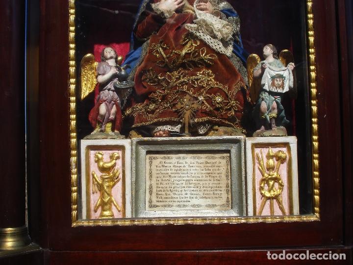Arte: 1848 HISTORICA HORNACINA DE LA VIRGEN DE LOS CUATRO OBISPOS TALLA DE MADERA - Foto 10 - 90373340