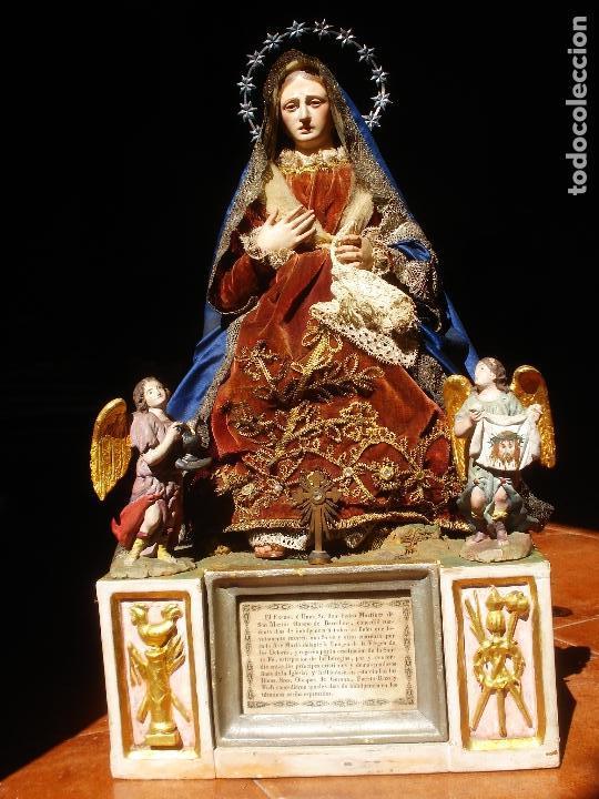 Arte: 1848 HISTORICA HORNACINA DE LA VIRGEN DE LOS CUATRO OBISPOS TALLA DE MADERA - Foto 14 - 90373340