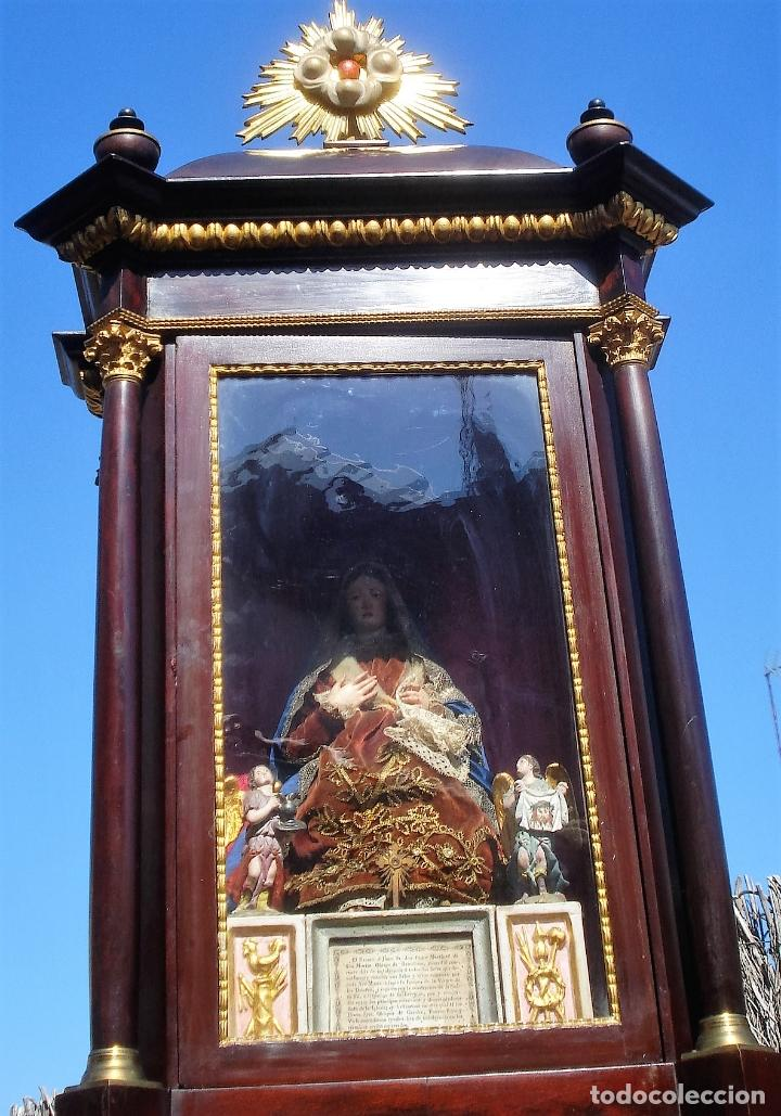 Arte: 1848 HISTORICA HORNACINA DE LA VIRGEN DE LOS CUATRO OBISPOS TALLA DE MADERA - Foto 16 - 90373340