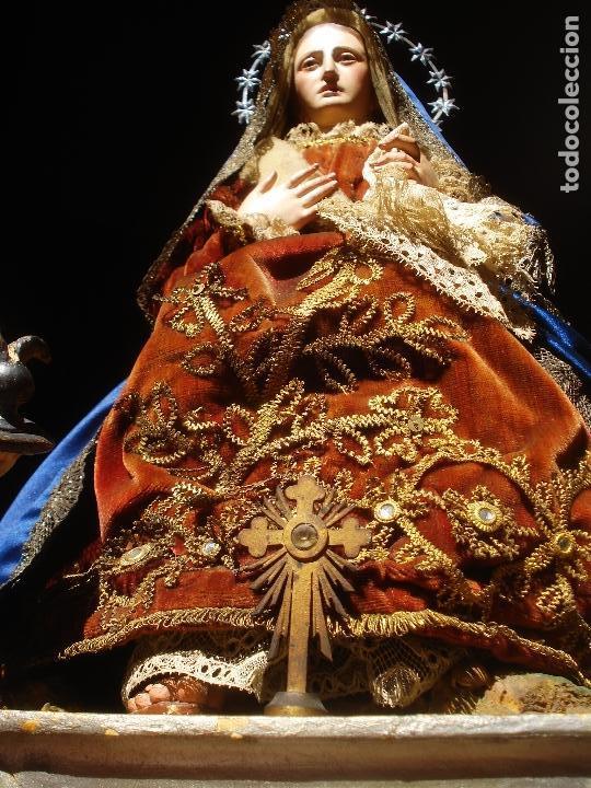 Arte: 1848 HISTORICA HORNACINA DE LA VIRGEN DE LOS CUATRO OBISPOS TALLA DE MADERA - Foto 18 - 90373340