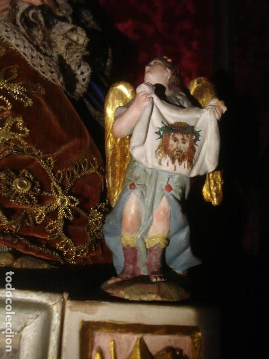 Arte: 1848 HISTORICA HORNACINA DE LA VIRGEN DE LOS CUATRO OBISPOS TALLA DE MADERA - Foto 25 - 90373340