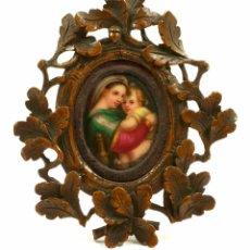 Arte: PEQUEÑO ESMALTE 4X3CM. DE VIRGEN CON NIÑO, S.XIX CORNOCOPIA DE MADERA 8,5X9,5CM. S.XIX. Lote 90634475