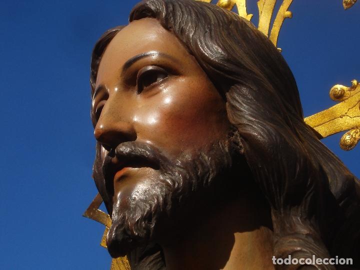 Arte: SAGRADO CORAZÓN TALLA DE MADERA DOMINGO PERIS ESCULTOR GRANDES MEDIDAS 1M78CM - Foto 10 - 90790940