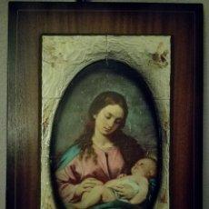 Art: ANTIGUO CUADRO DE LA VIRGEN MARÍA Y EL NIÑO JESÚS EN MARCO DE MADERA. AÑOS 60-70. Lote 90918048