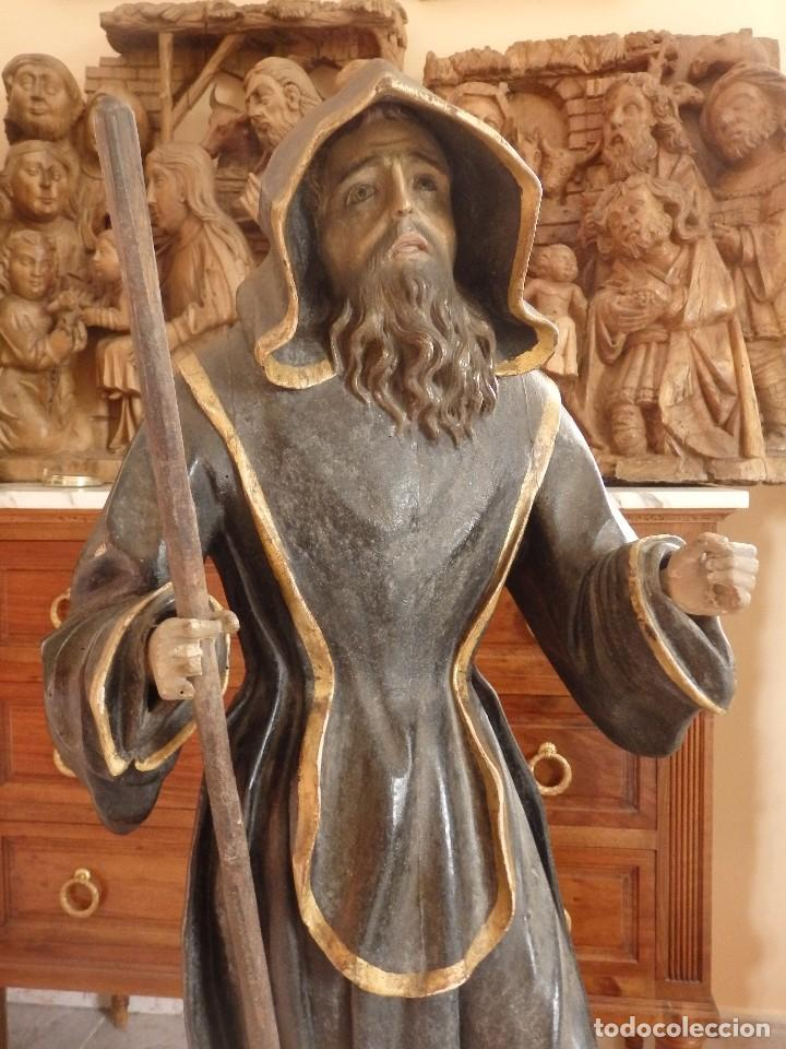 SAN FRANCISCO DE PAULA. ESCULTURA EN MADERA TALLADA DE LA ESCUELA ANDALUZA. 84 CM. S. XVIII. (Arte - Arte Religioso - Escultura)