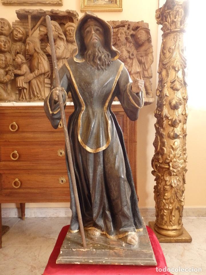 Arte: San Francisco de Paula. Escultura en madera tallada de la escuela andaluza. 84 cm. S. XVIII. - Foto 26 - 182109498