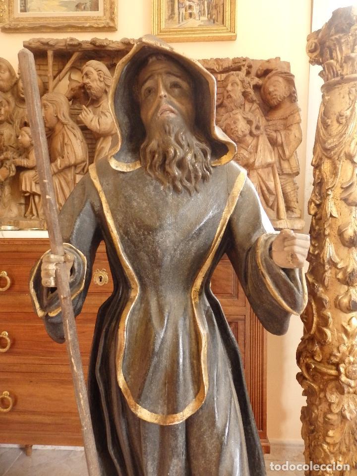 Arte: San Francisco de Paula. Escultura en madera tallada de la escuela andaluza. 84 cm. S. XVIII. - Foto 27 - 182109498