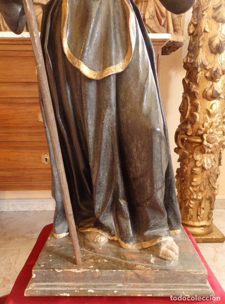 Arte: San Francisco de Paula. Escultura en madera tallada de la escuela andaluza. 84 cm. S. XVIII. - Foto 2 - 182109498
