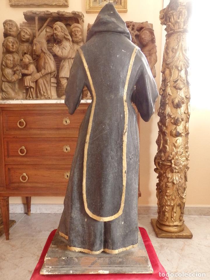 Arte: San Francisco de Paula. Escultura en madera tallada de la escuela andaluza. 84 cm. S. XVIII. - Foto 8 - 182109498