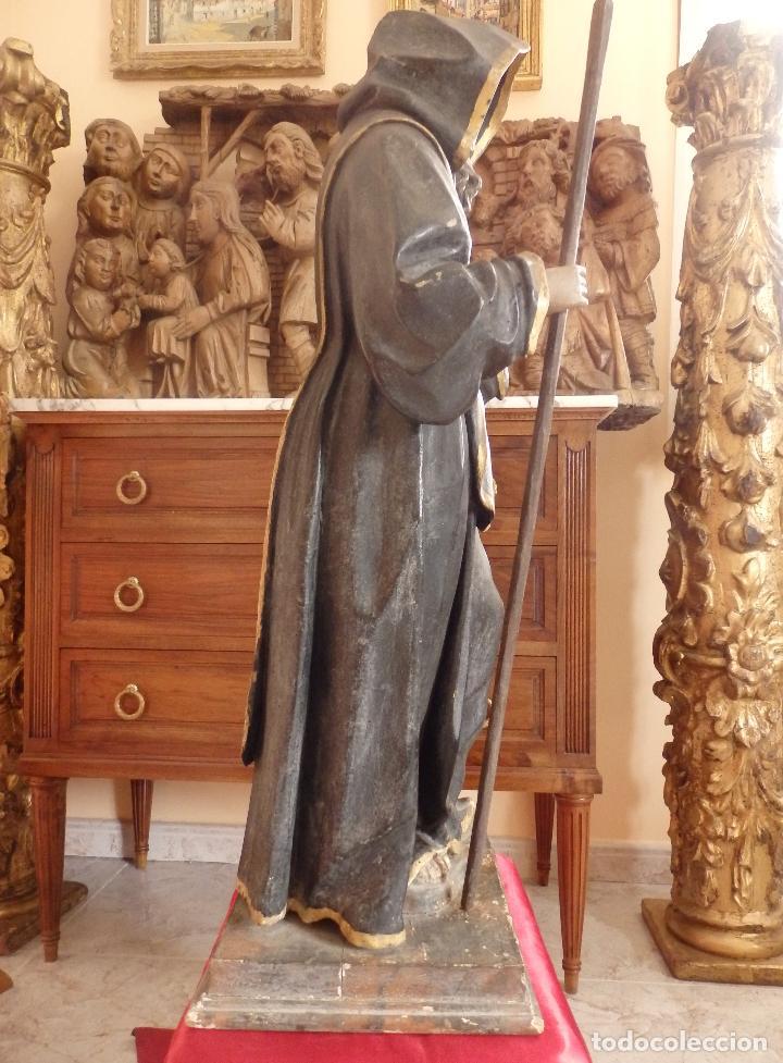 Arte: San Francisco de Paula. Escultura en madera tallada de la escuela andaluza. 84 cm. S. XVIII. - Foto 14 - 182109498