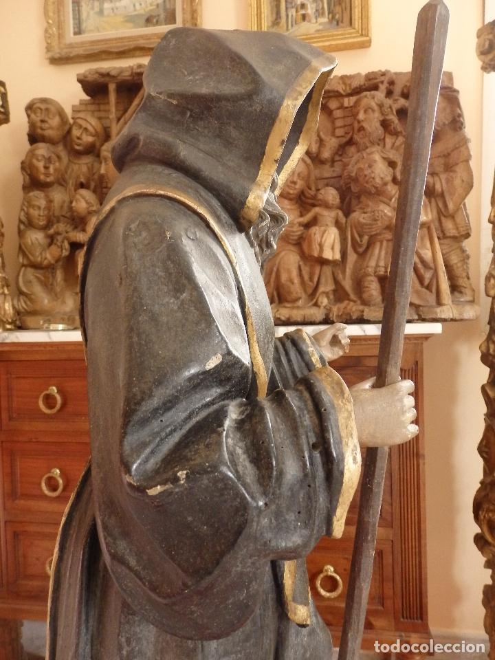 Arte: San Francisco de Paula. Escultura en madera tallada de la escuela andaluza. 84 cm. S. XVIII. - Foto 15 - 182109498