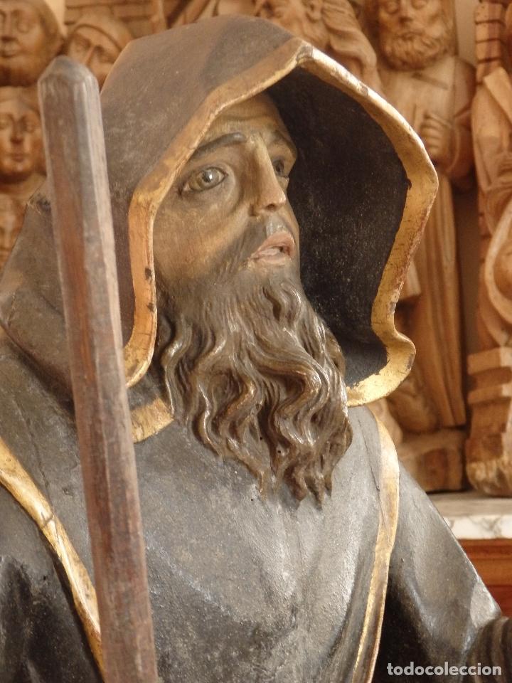 Arte: San Francisco de Paula. Escultura en madera tallada de la escuela andaluza. 84 cm. S. XVIII. - Foto 17 - 182109498