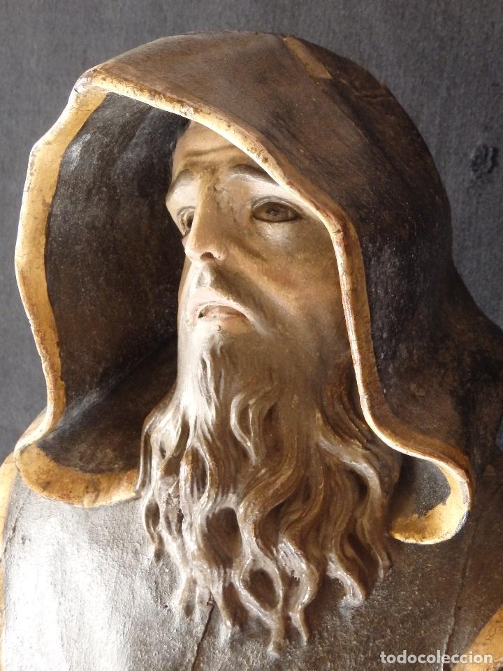 Arte: San Francisco de Paula. Escultura en madera tallada de la escuela andaluza. 84 cm. S. XVIII. - Foto 19 - 182109498