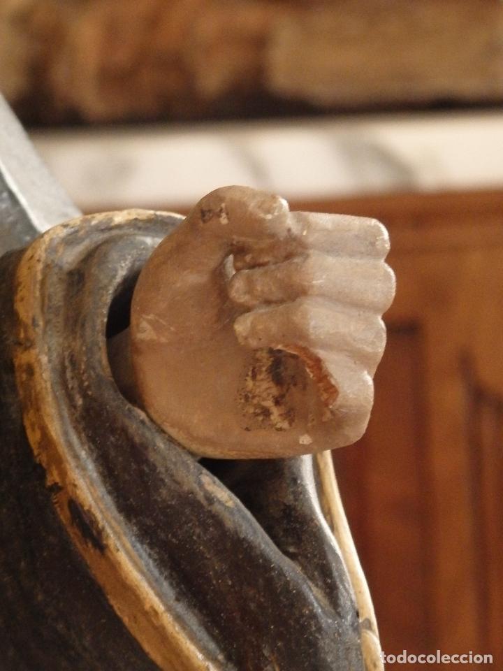 Arte: San Francisco de Paula. Escultura en madera tallada de la escuela andaluza. 84 cm. S. XVIII. - Foto 25 - 182109498