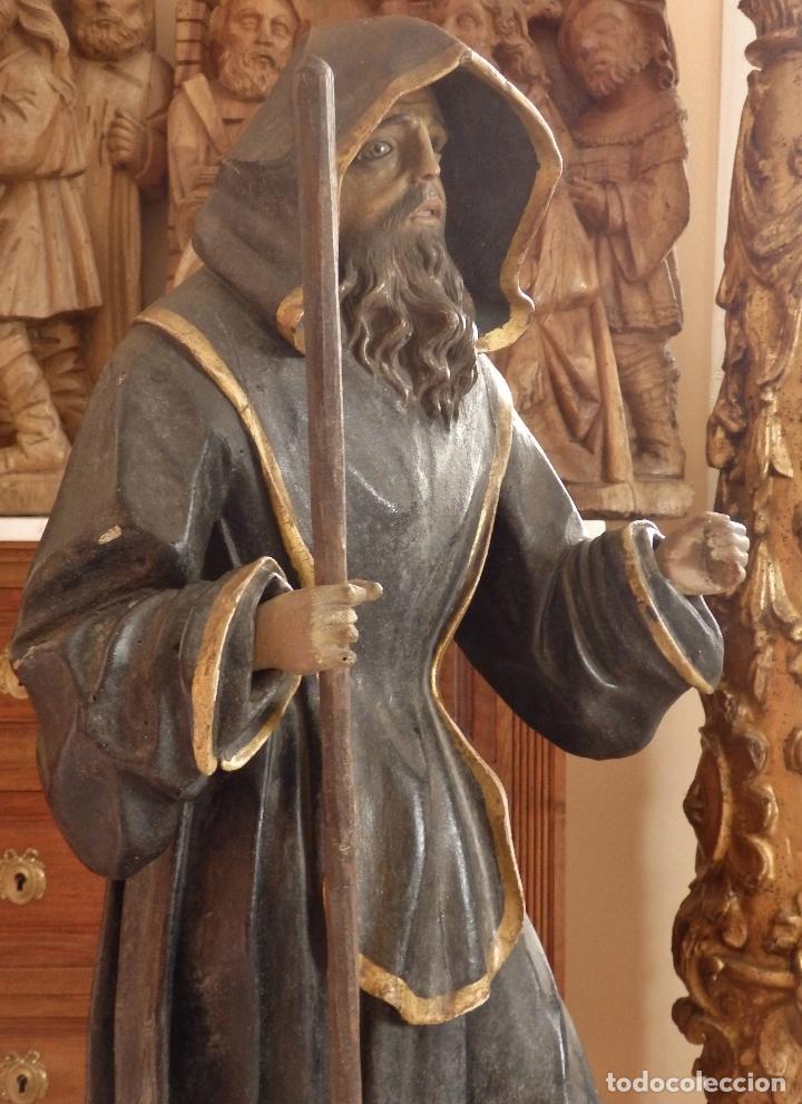 Arte: San Francisco de Paula. Escultura en madera tallada de la escuela andaluza. 84 cm. S. XVIII. - Foto 12 - 182109498