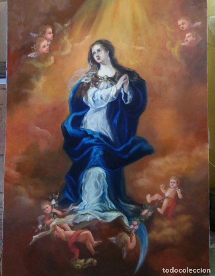 INMACULADA. LIENZO 100X73. (40P). NUEVAS FOTOS. MARCO DE REGALO. (Arte - Arte Religioso - Pintura Religiosa - Oleo)