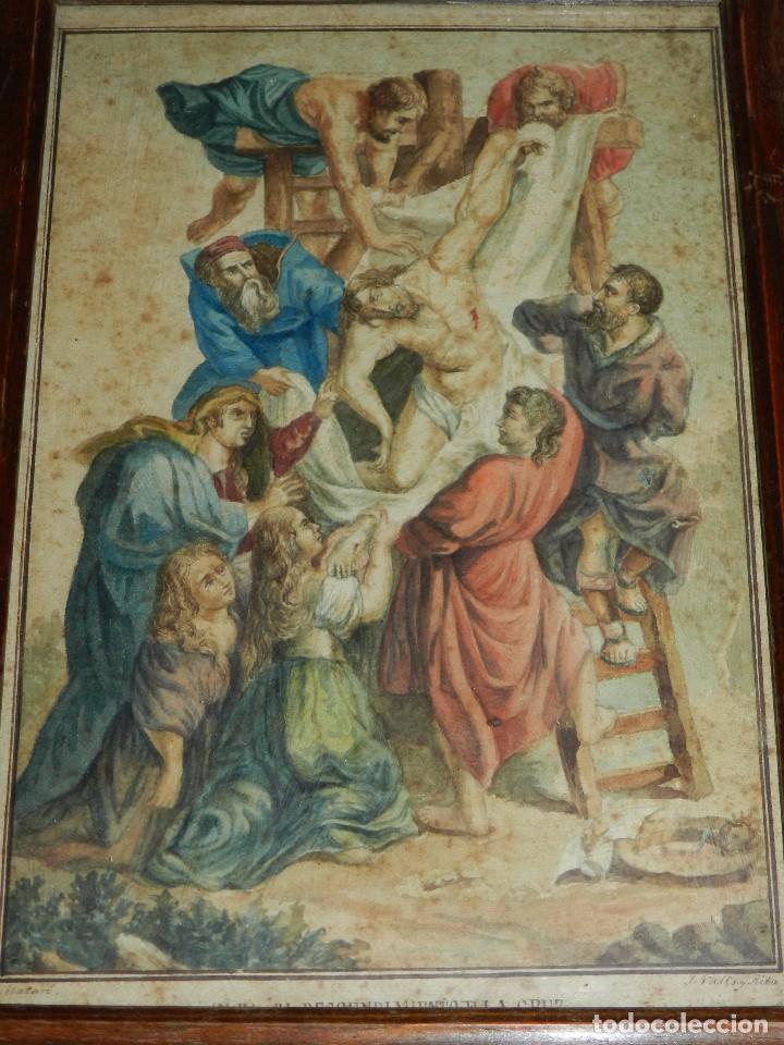 (M) ACUARELA RELIGIOSA EL DESCENDIMIENTO DE LA CRUZ , FIRMA J VALLS Y RIBA ,ACUARELA DEL S.XIX (Arte - Arte Religioso - Pintura Religiosa - Acuarela)