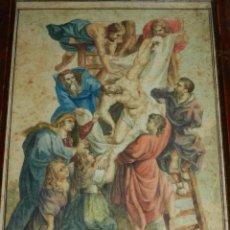 Arte: (M) ACUARELA RELIGIOSA EL DESCENDIMIENTO DE LA CRUZ , FIRMA J VALLS Y RIBA ,ACUARELA DEL S.XIX. Lote 91434945
