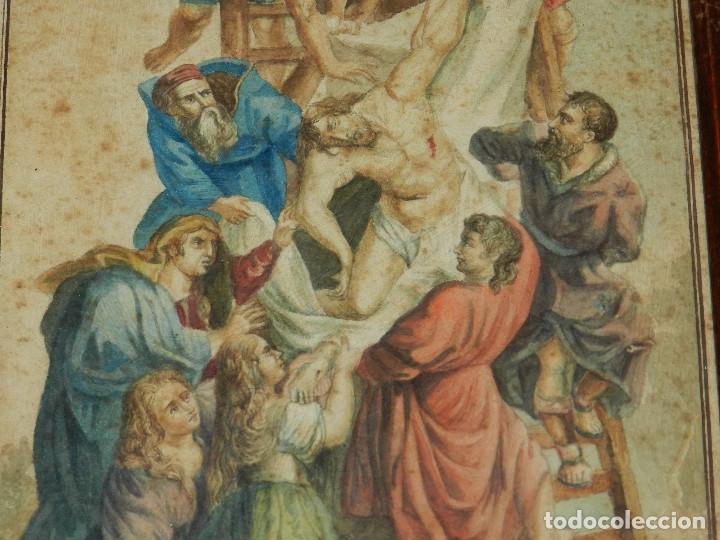 Arte: (M) ACUARELA RELIGIOSA EL DESCENDIMIENTO DE LA CRUZ , FIRMA J VALLS Y RIBA ,ACUARELA DEL S.XIX - Foto 3 - 91434945