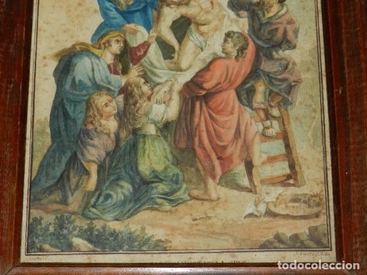 Arte: (M) ACUARELA RELIGIOSA EL DESCENDIMIENTO DE LA CRUZ , FIRMA J VALLS Y RIBA ,ACUARELA DEL S.XIX - Foto 4 - 91434945